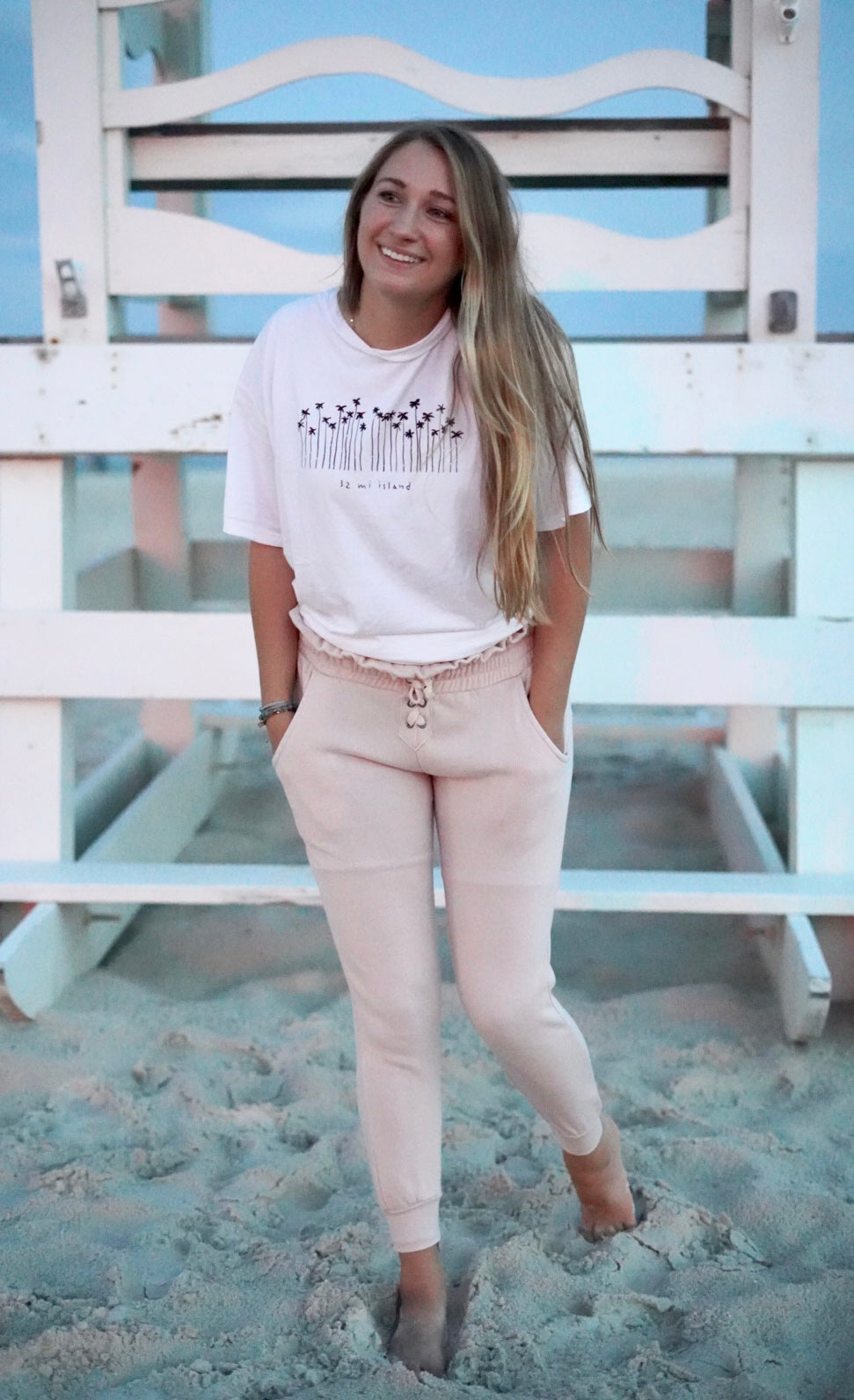 SOFT PINK HIGH WAISTED TIE JOGGERS