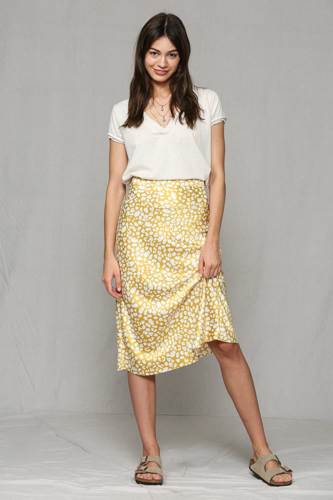 HIGHWASTED SIKY LEMON CHEETAH MIDI SKIRT