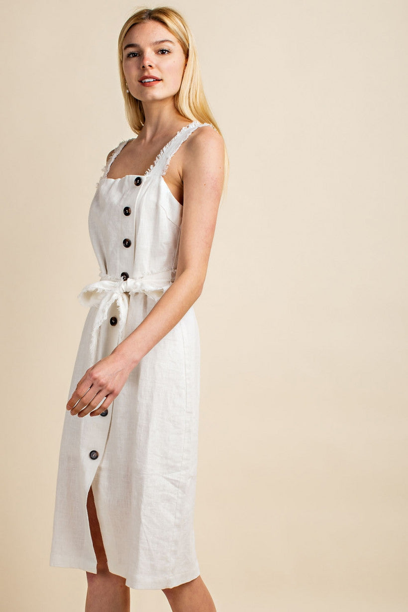 LINEN BUTTON TIE DRESS