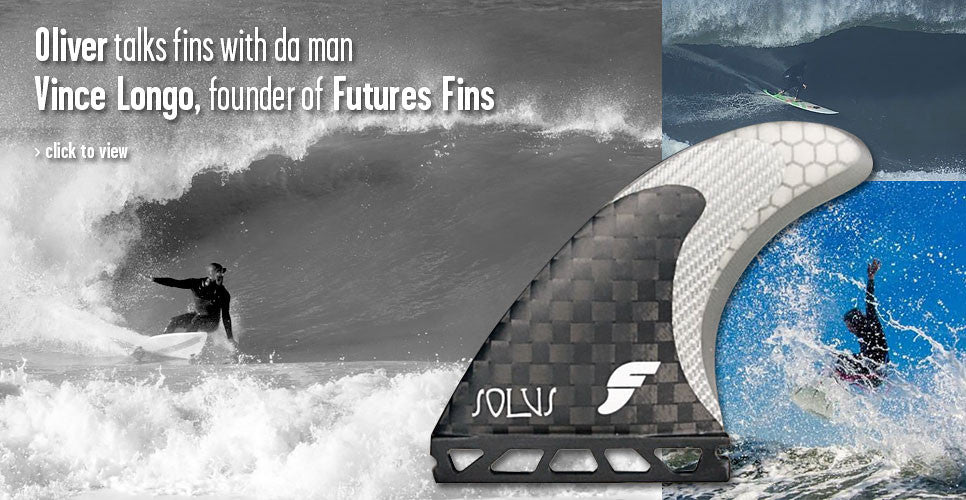Oliver talks fins with da man- Vince Longo founder of Future Fins.