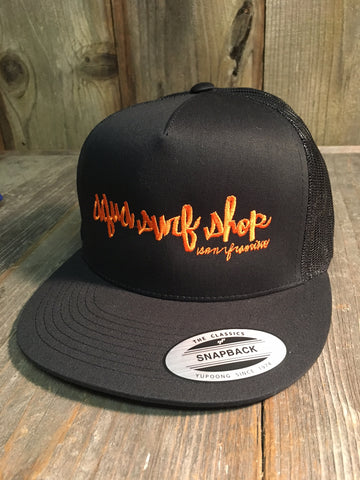 Black/Orange Giants Aqua Script Trucker