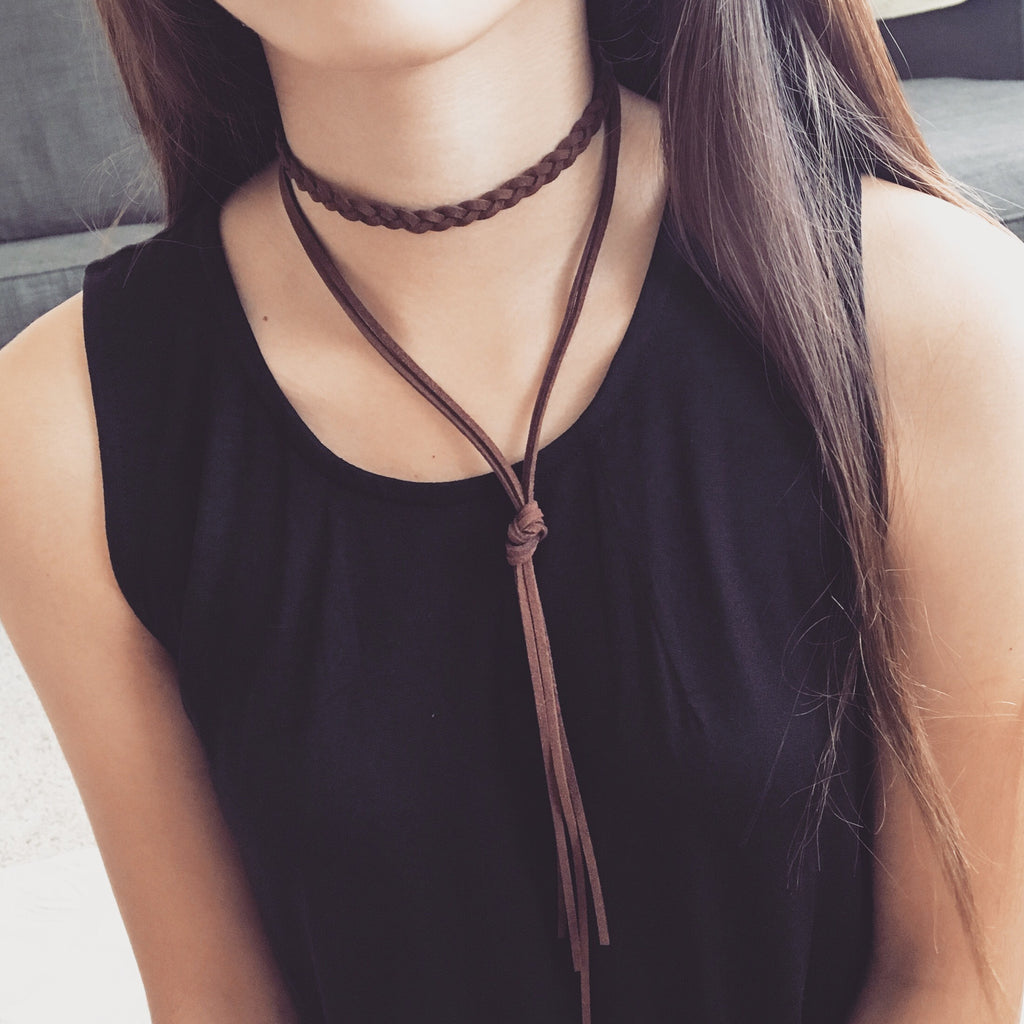 Braided layer choker necklace