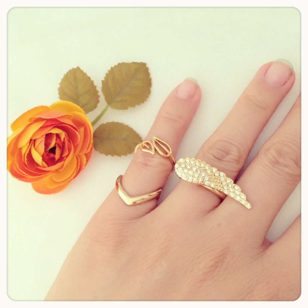 Leaf knuckle, midi ring