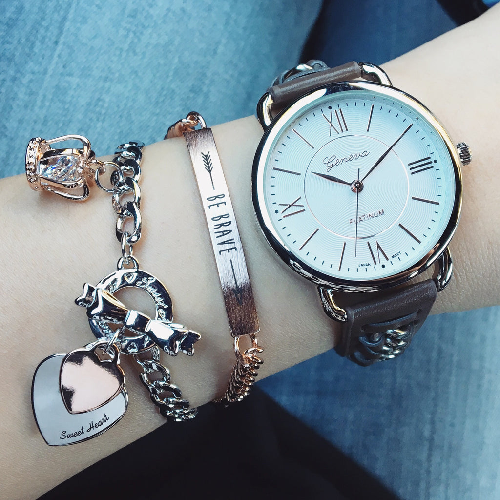 Chain leather strap watch