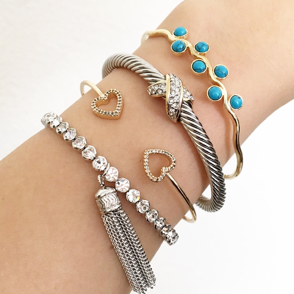 Tassel cubic bangle bracelet