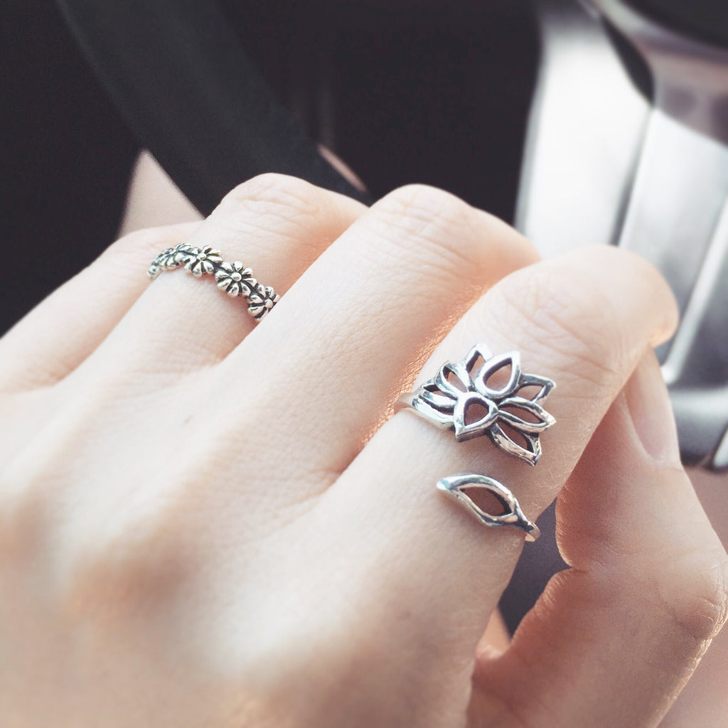 Flowers sterling silver ring