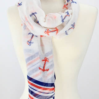 Anchor stripes scarf