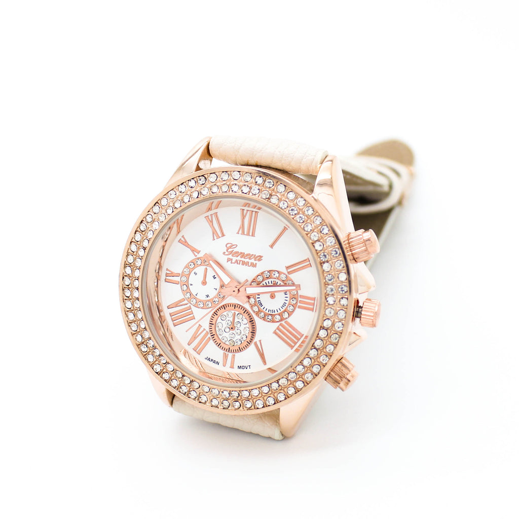 Crystal bezel strap watch (4 colors)