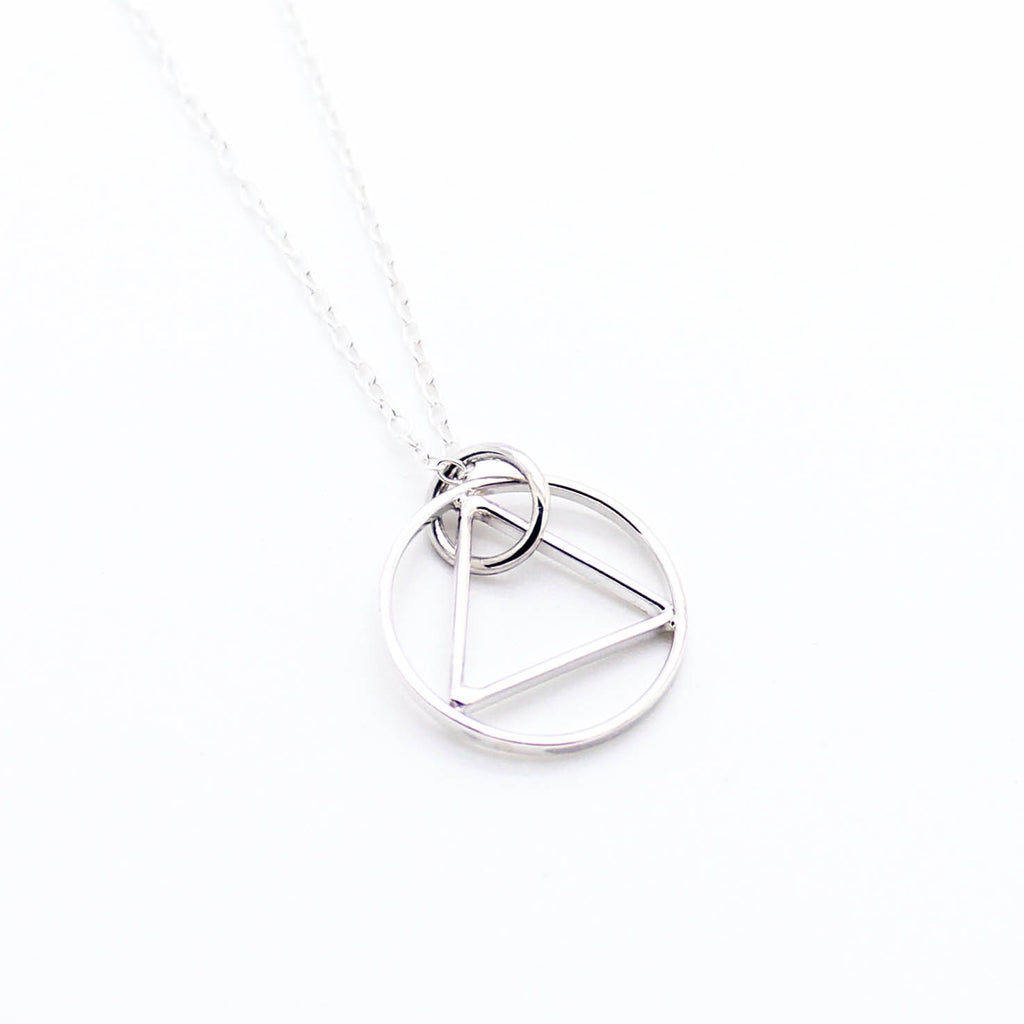Triangle in Circle sterling silver necklace