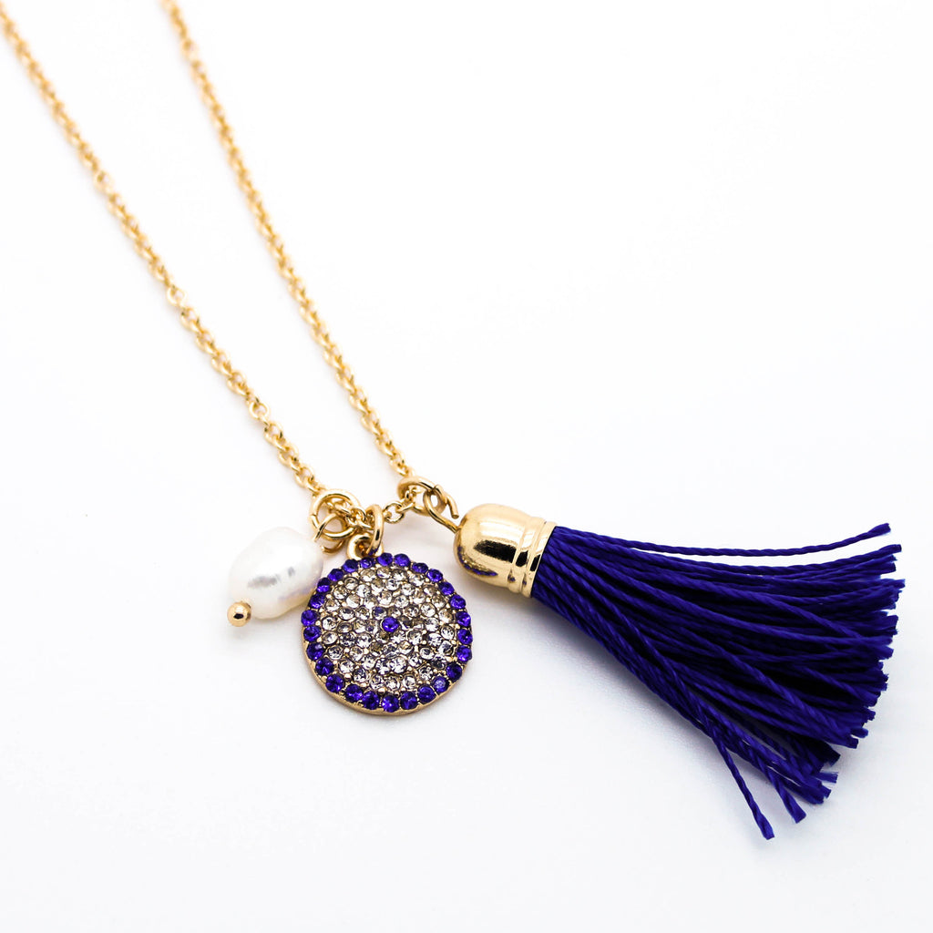 Eye tassel charm necklace