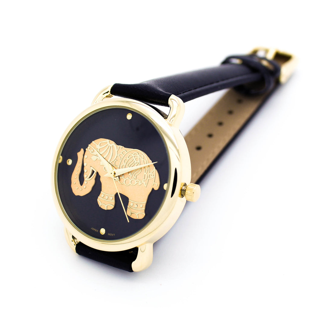 Gold elephant strap watch (3 colors)