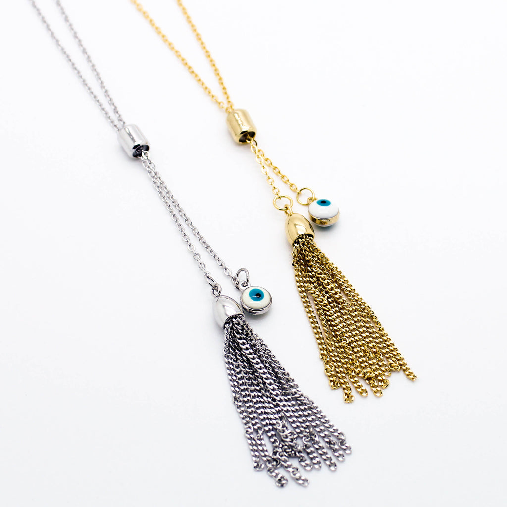 Eye tassel long necklace
