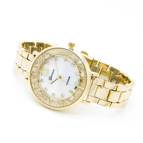 Crystal bezel metal watch