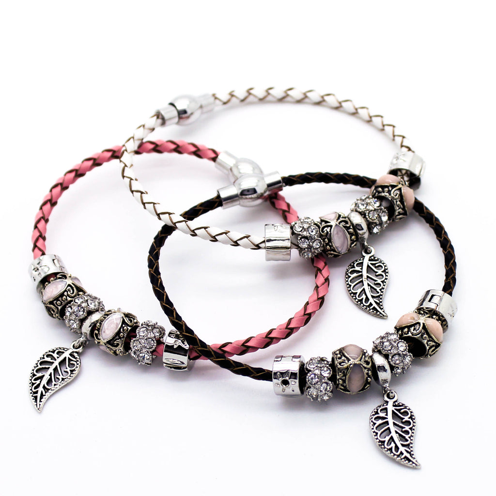 Leaf charm leather bracelet