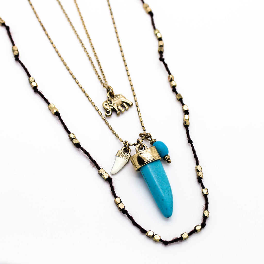 Elephant horn layer necklace