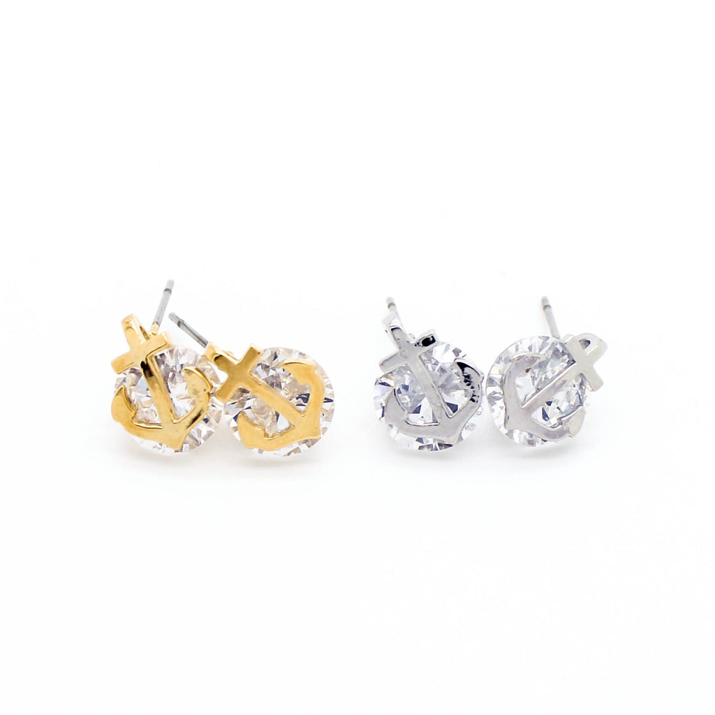 Anchor crystal earrings