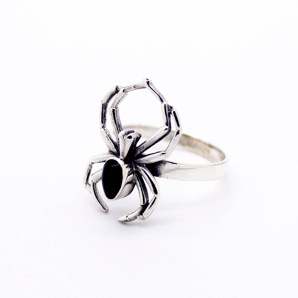 Spider onyx sterling silver ring