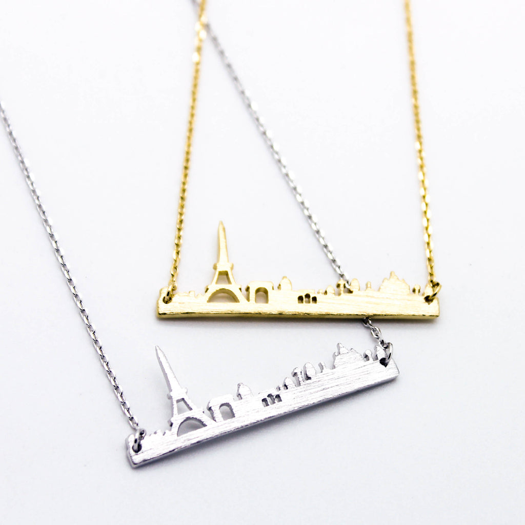 Paris city scape necklace