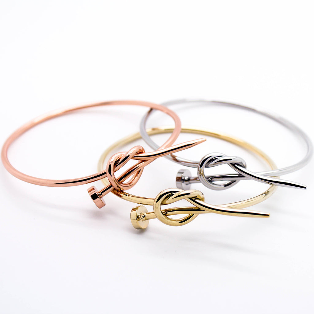 Nail heart knot bangle bracelet (3 colors)