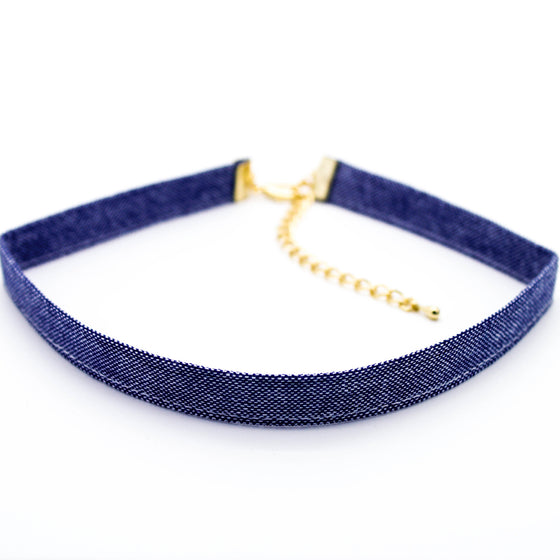 Denim choker necklace