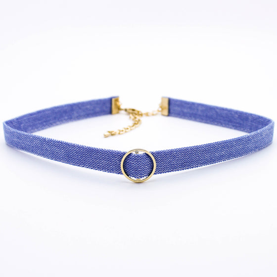 Circle denim choker necklace