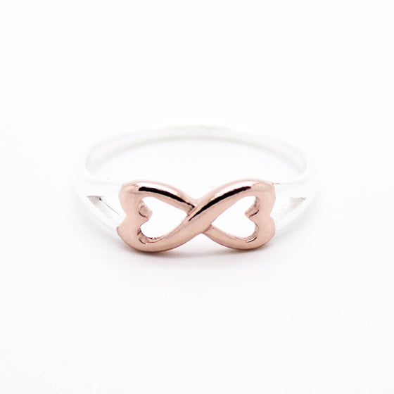 Heart infinity sterling silver ring