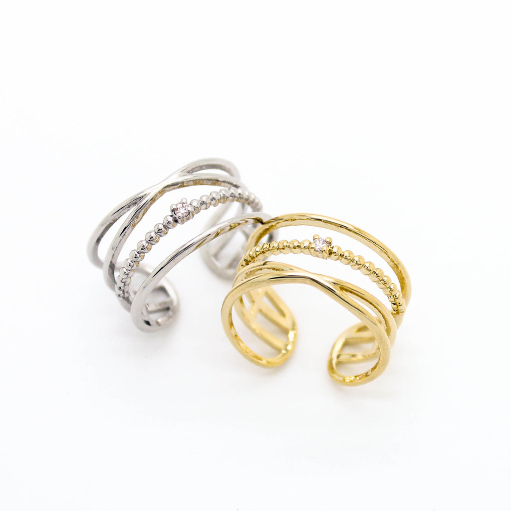 Delicate multi line ring (2 colors)