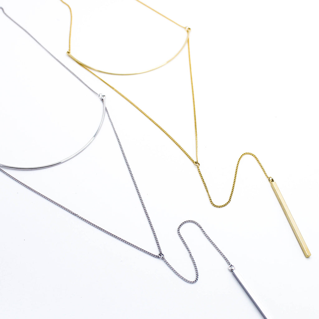 Curved bar Y-layer necklace