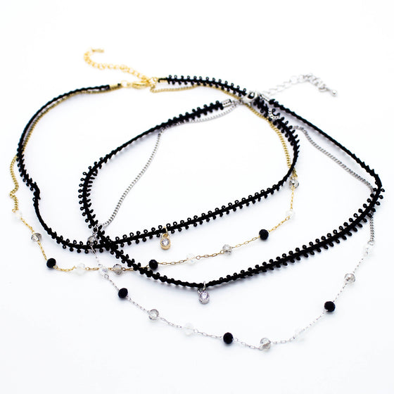 Delicate charm layer choker necklace (2 colors)