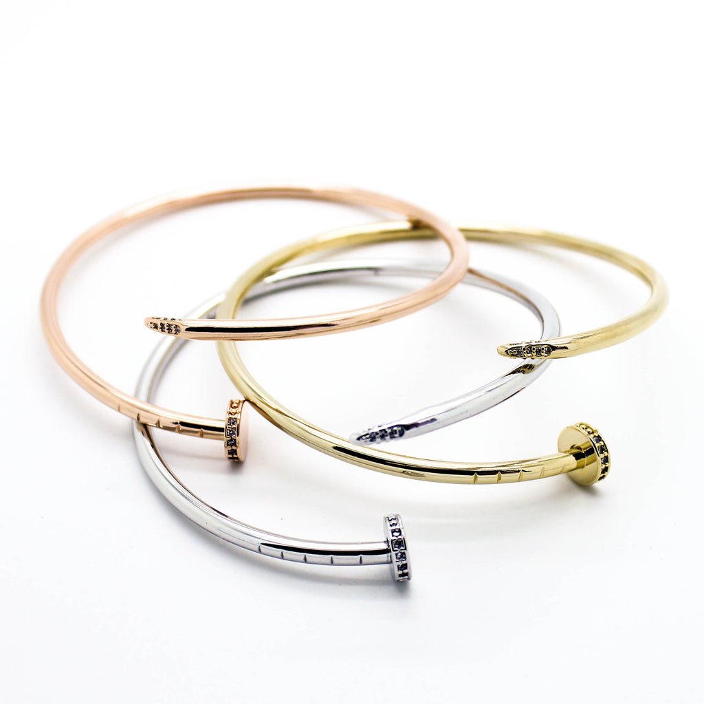 Nail stone bangle bracelet (3 colors)