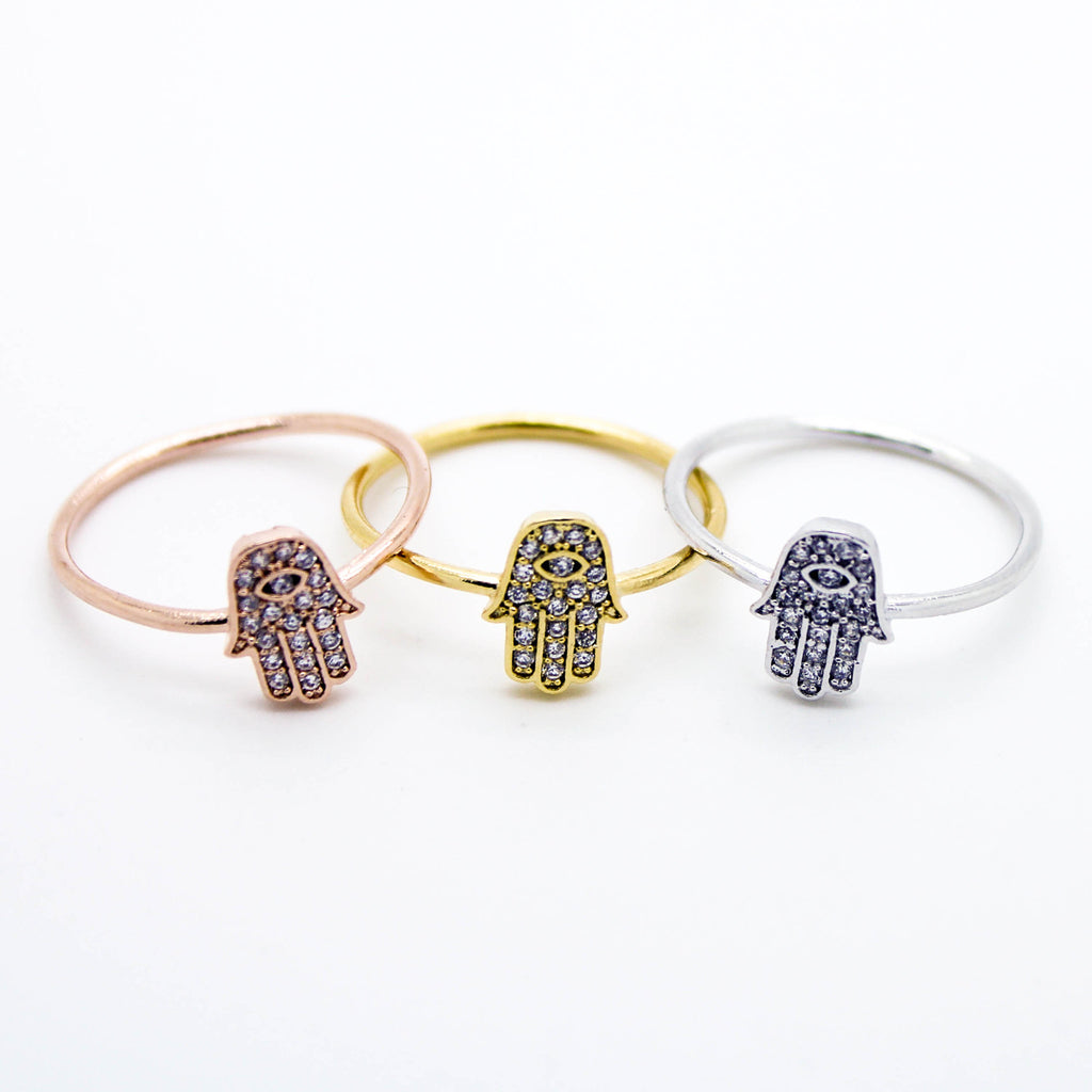 Hamsa hand stone ring (3 colors)