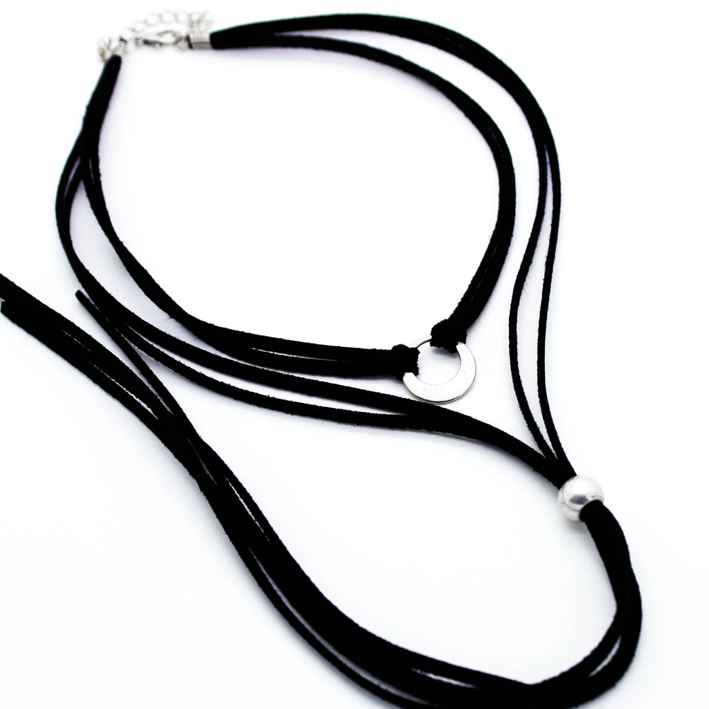Circle layer choker necklace