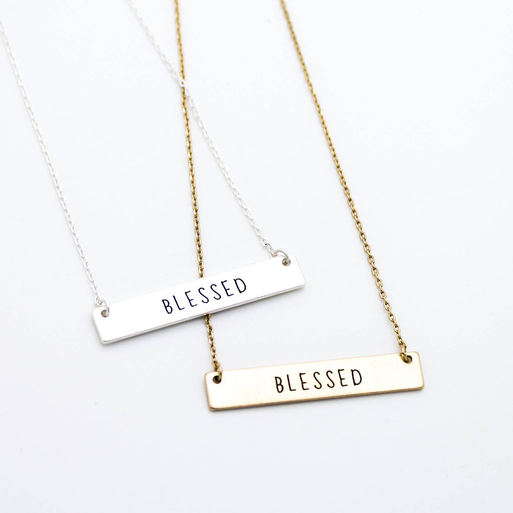 Blessed bar necklace