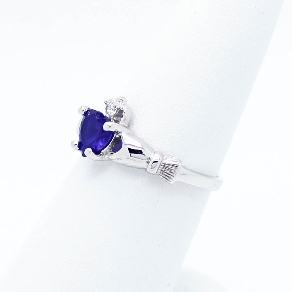 Blue heart sterling silver ring
