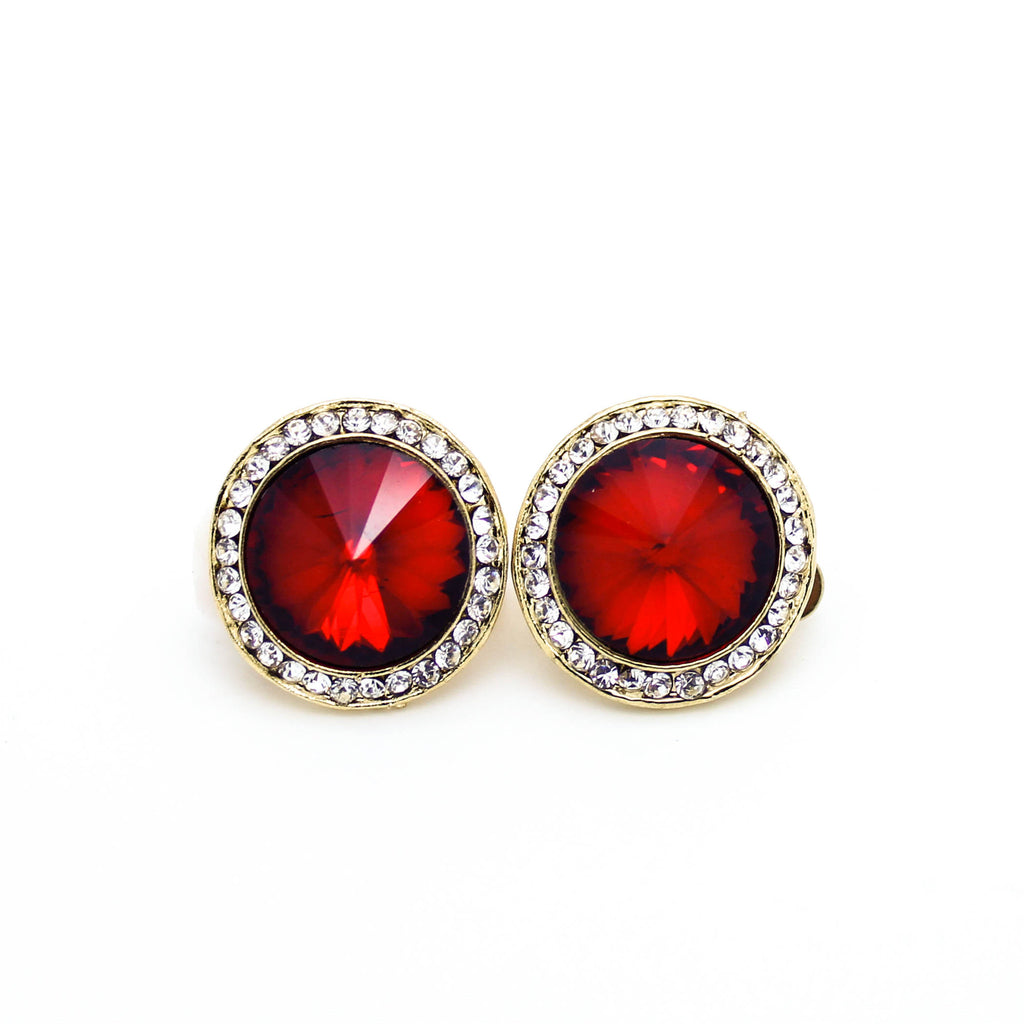Round stud clip earrings