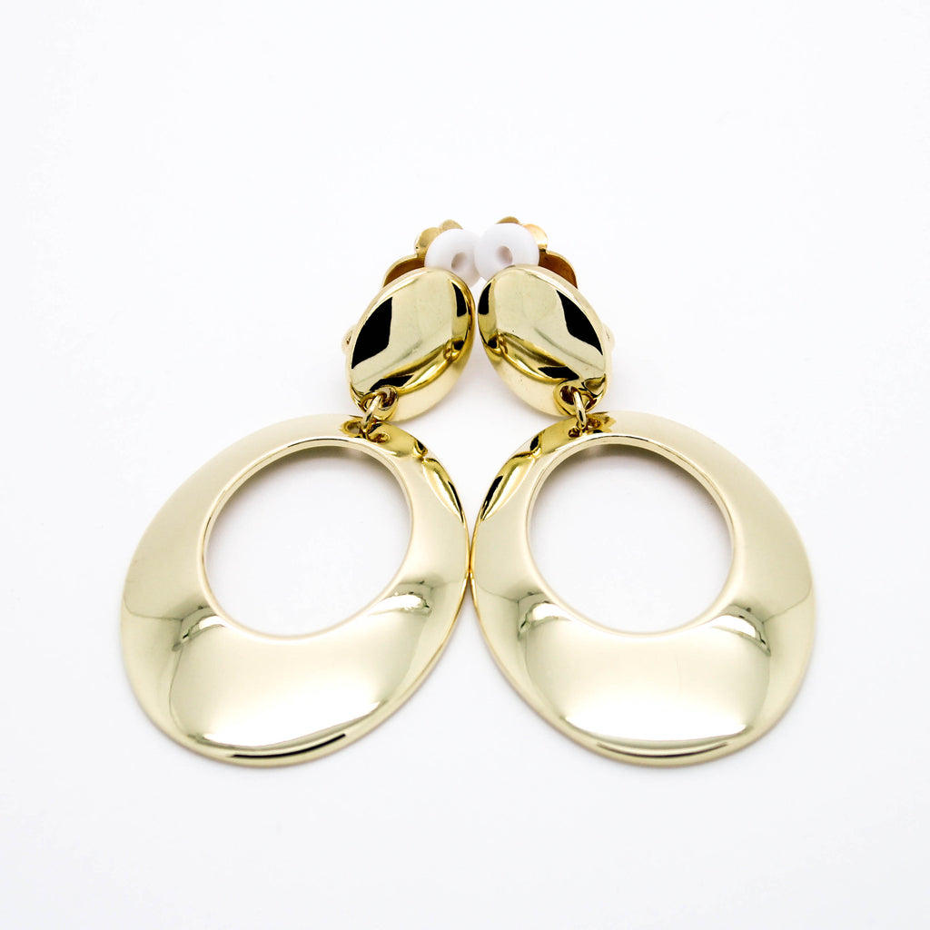 Oval clip on earrings
