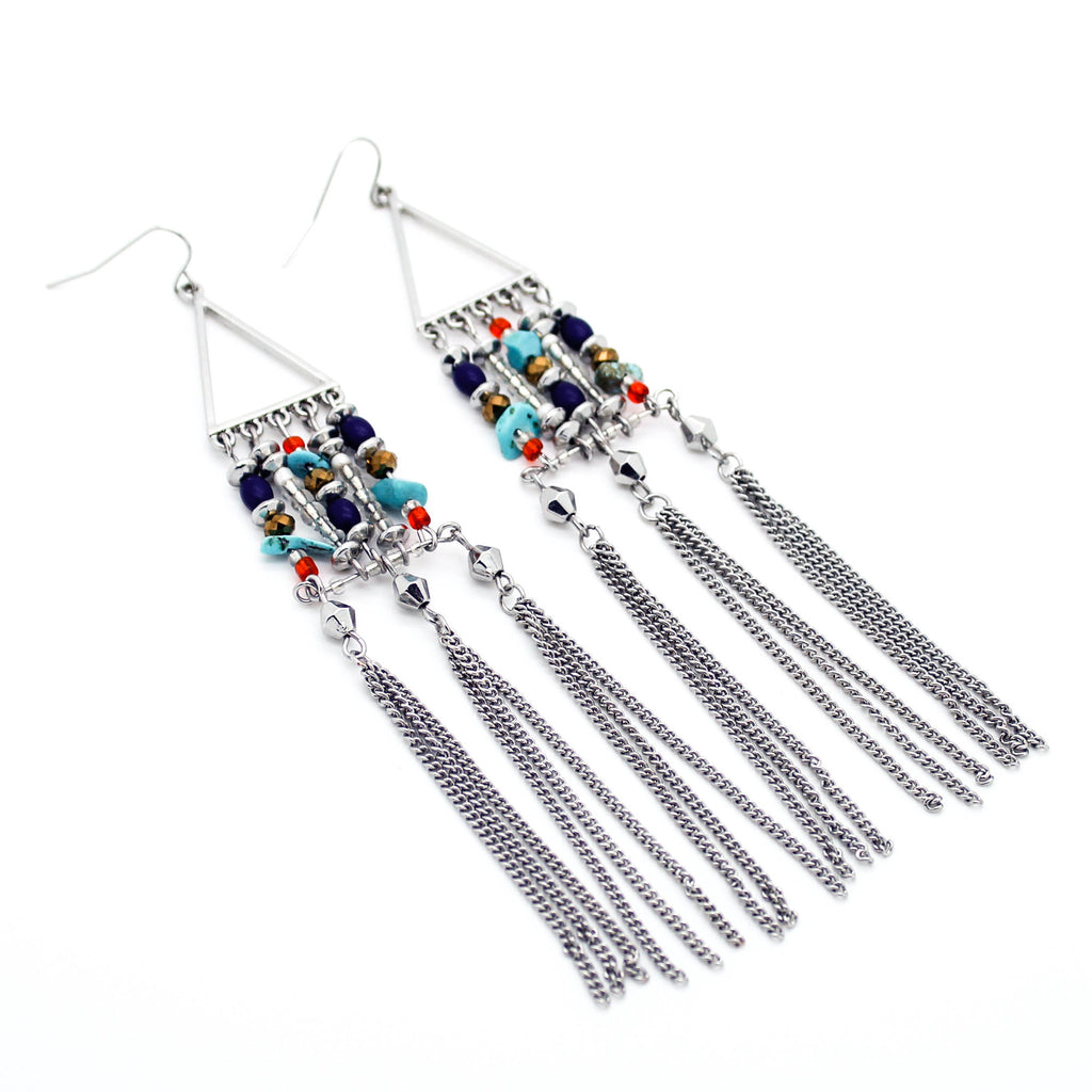 Aztec long earrings