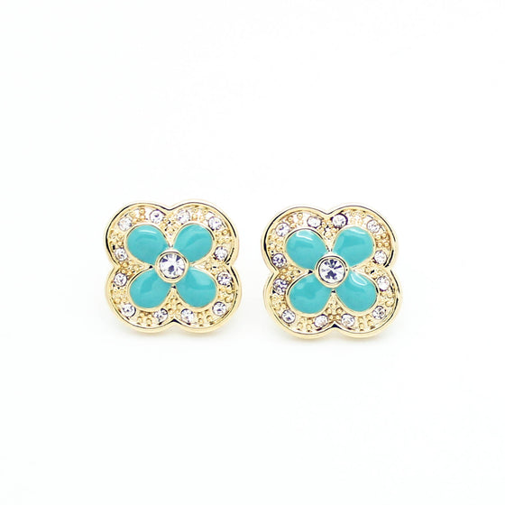 Clover enamel earrings