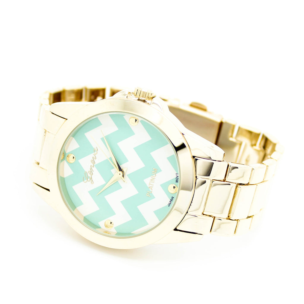 Chevron metal watch (2 colors)