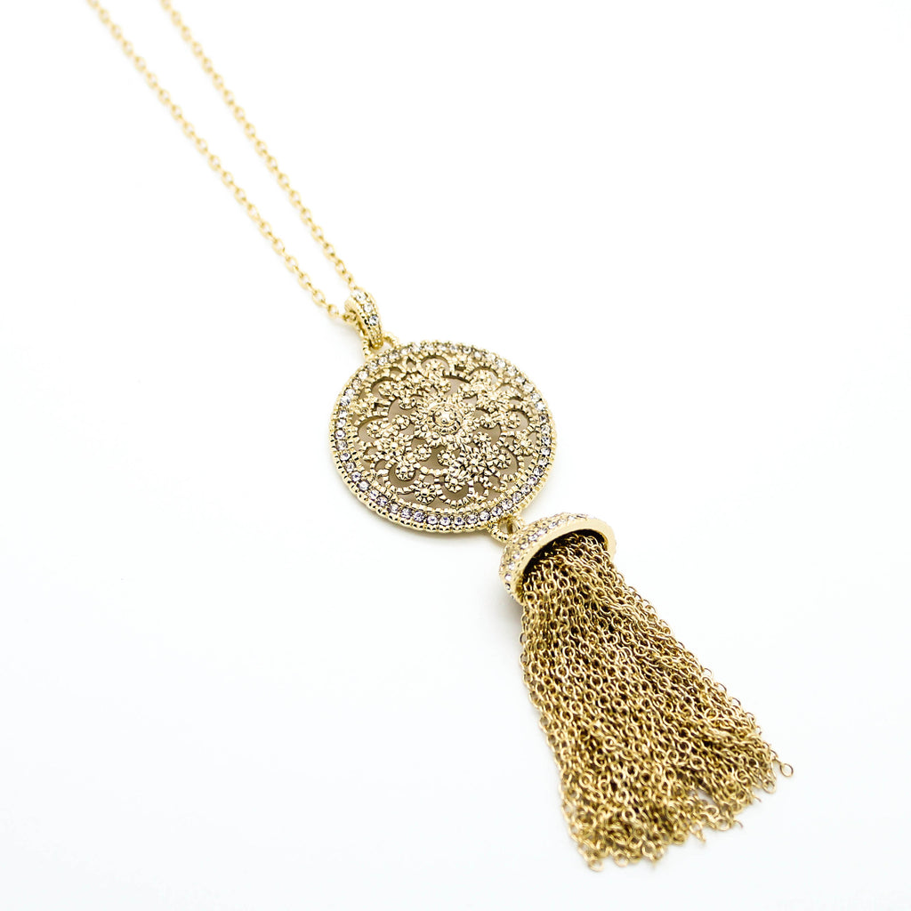 Glam tassel long necklace