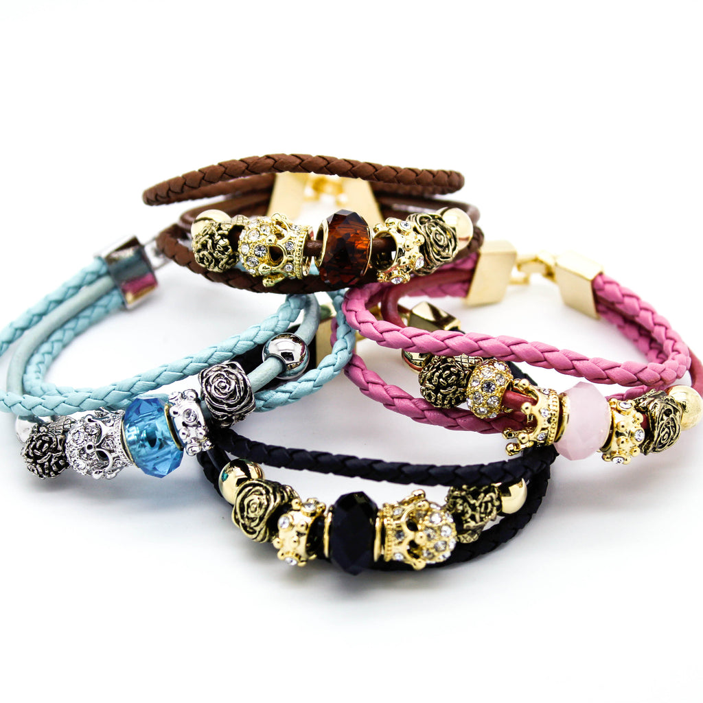Glam charms leather bracelet