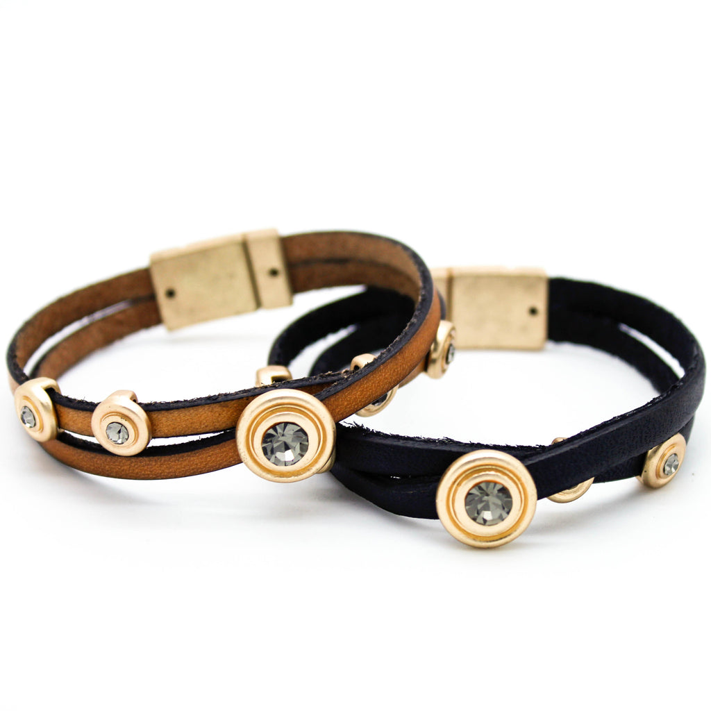 Circles leather bracelet