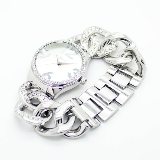Bold chain bezel metal watch (2 colors)