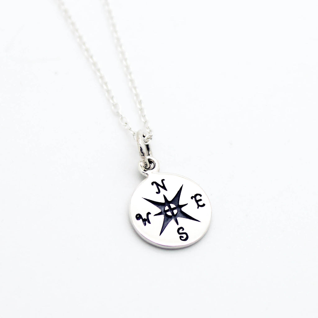 Compass sterling silver necklace