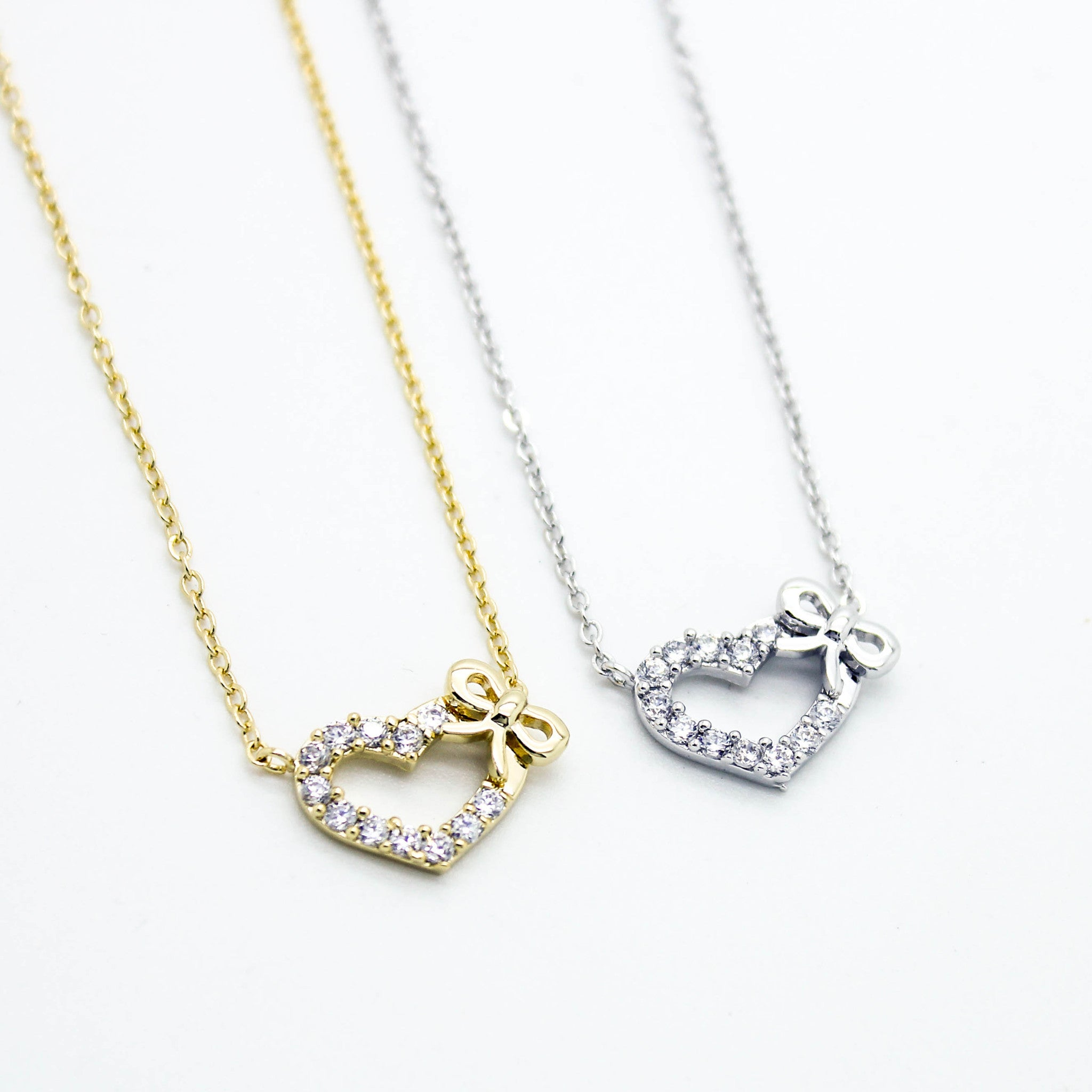 gold something bow zoom necklace sterling jewellery quot little a silver on necklaces rose simply plated
