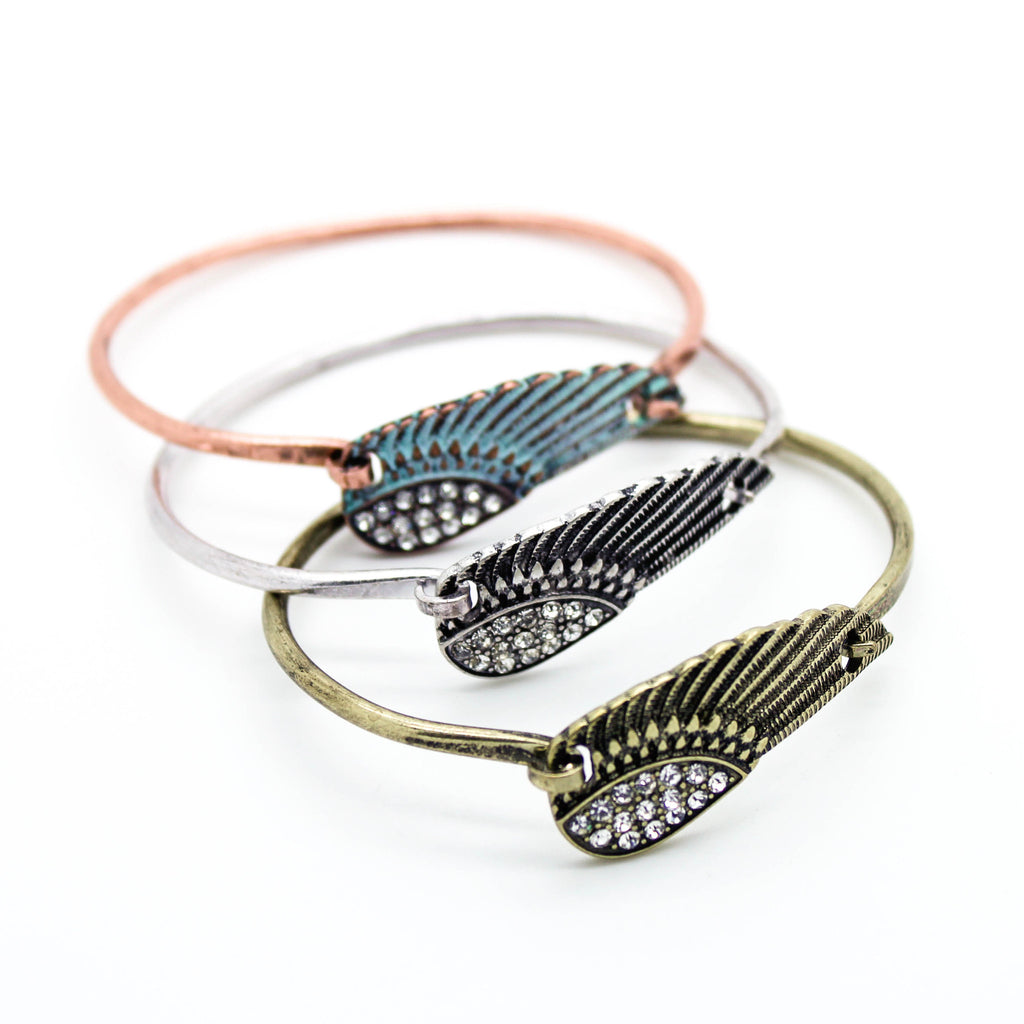 Feather crystal bangle bracelet