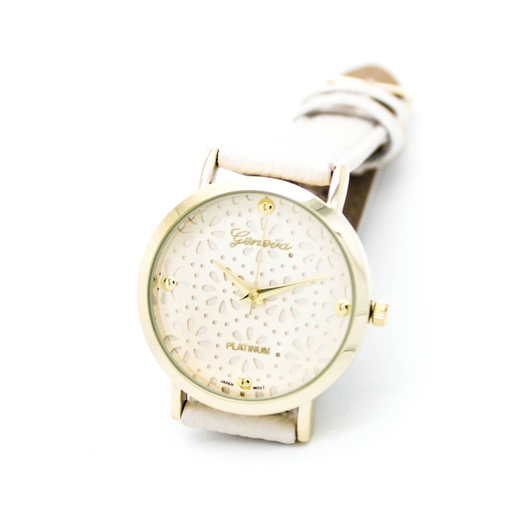 Flowers face strap watch (4 colors)