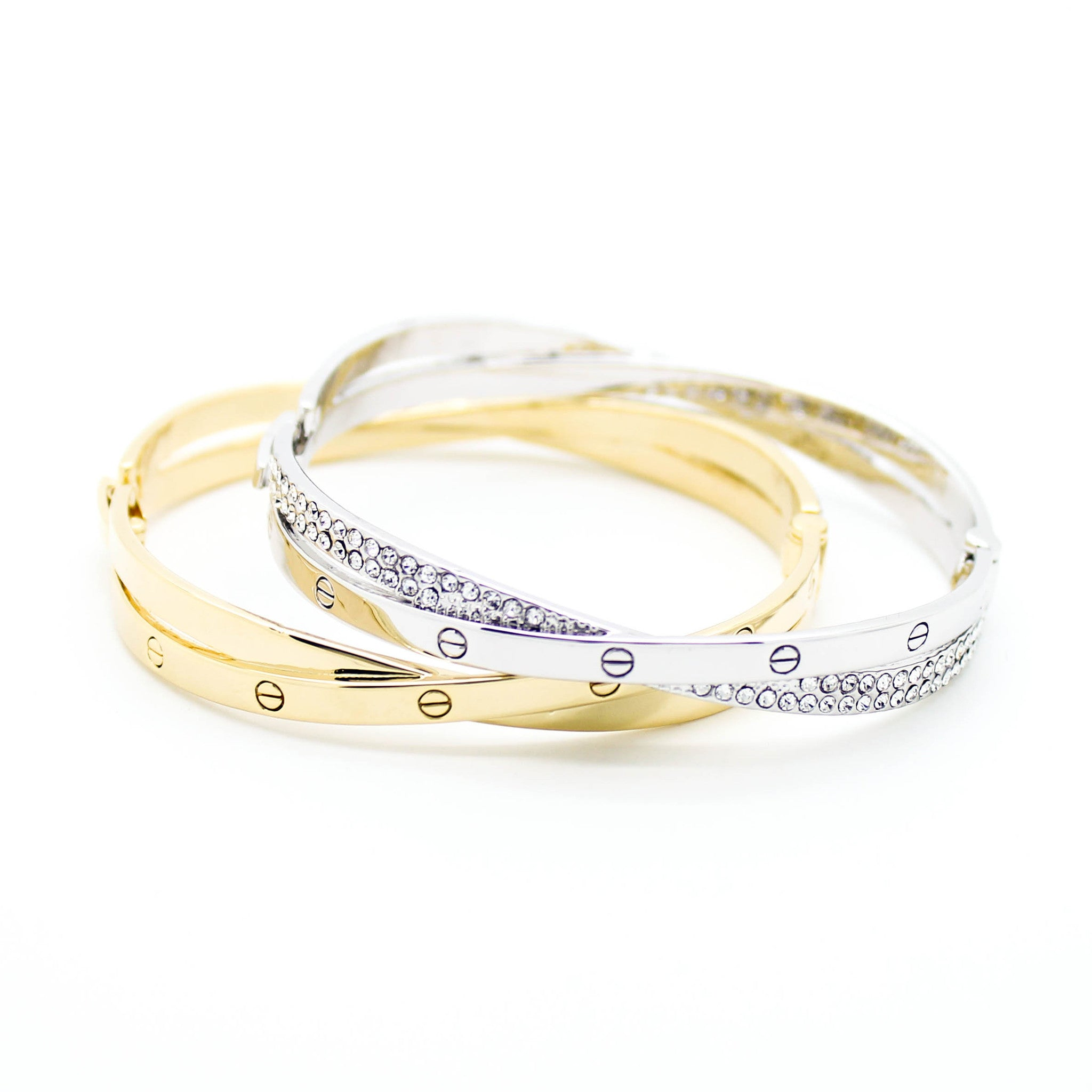 greek accent bangles tone gold two bangle style tennis diamond plated yellow pave bracelet key