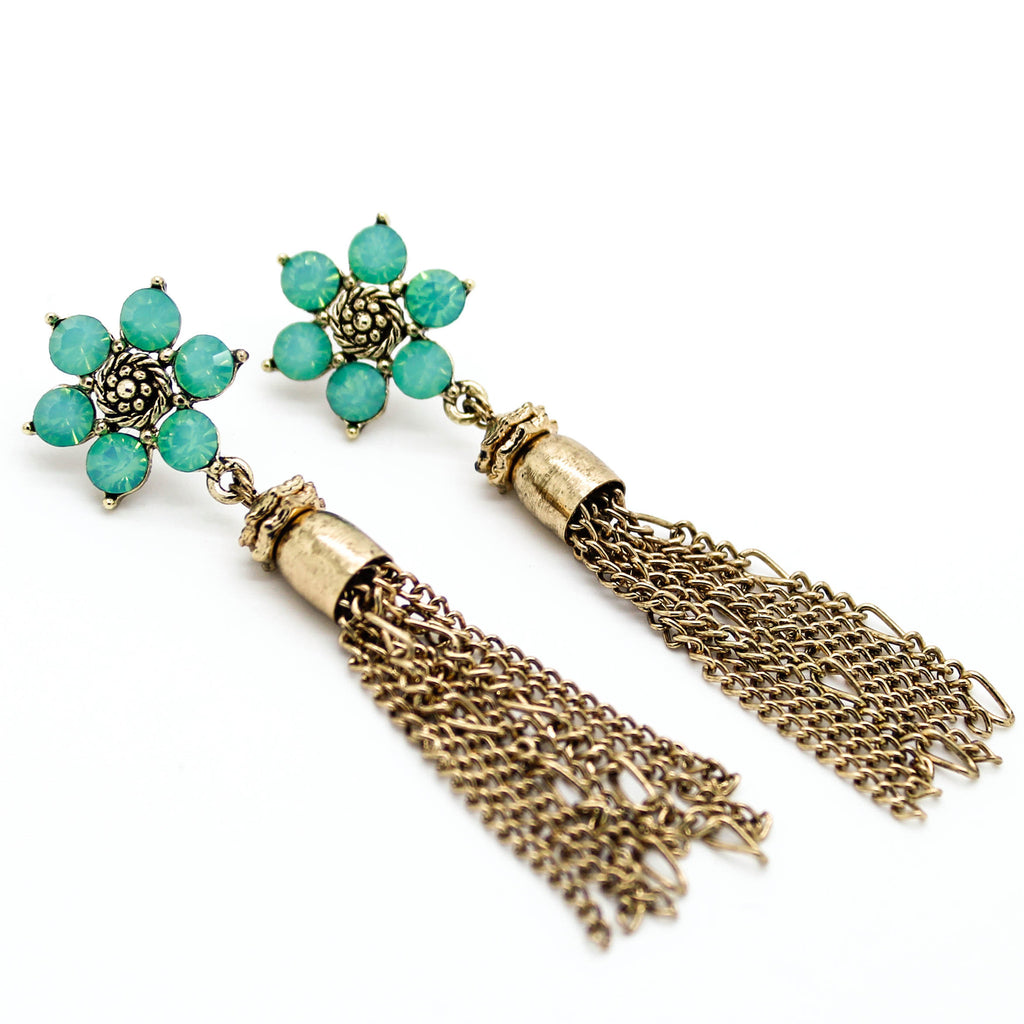 Flower tassel earrings