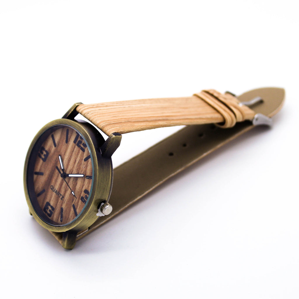 Wood print strap watch (2 colors)